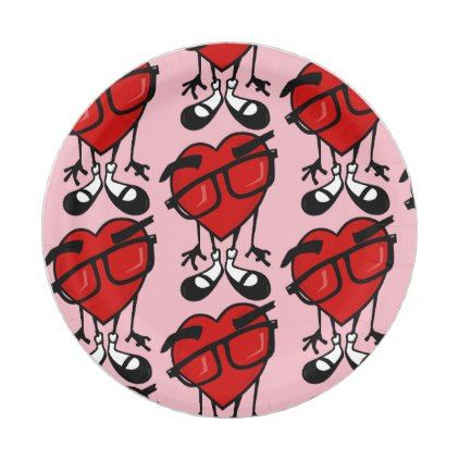 Valentine\'s day cute red heart pattern paper plate | Red heart ...