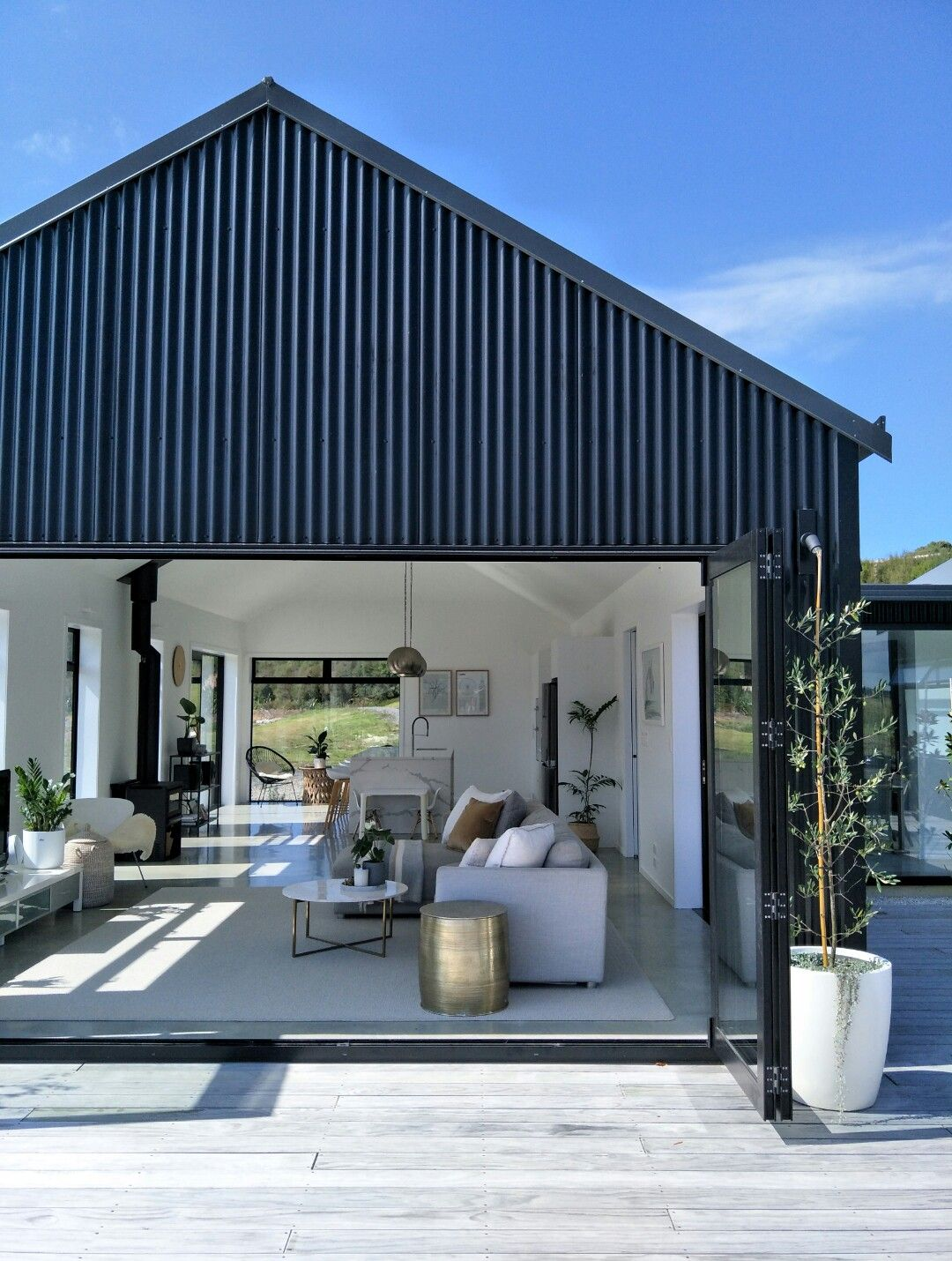 Full Service Interior Design And Styling For A New Build In Algies Bay Celene Interiors Auckland Barn Style House Modern Barn House House Designs Exterior