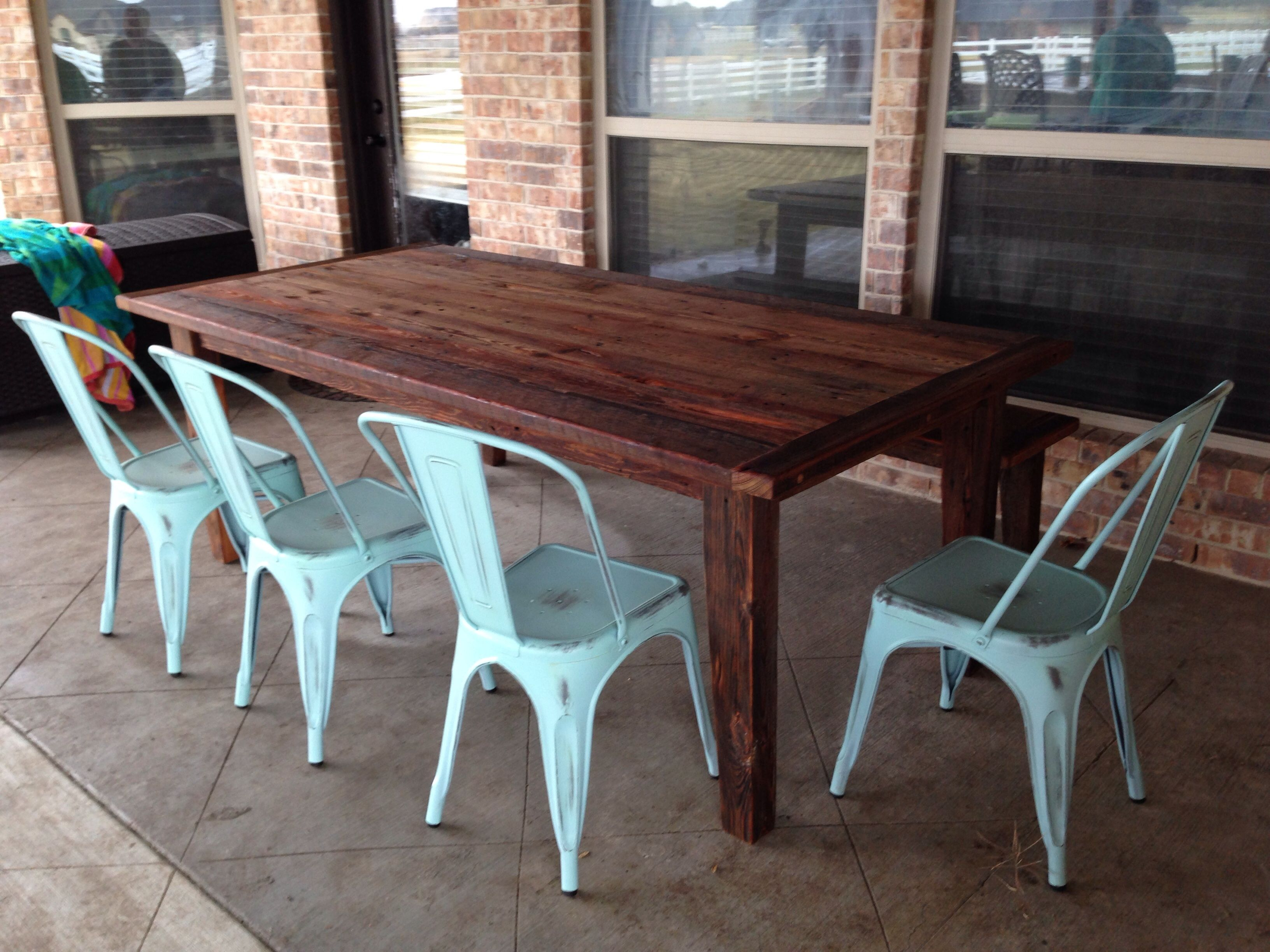 Reclaimed kitchen table  Outdoor dining table with teak oil finish made from reclaimed us