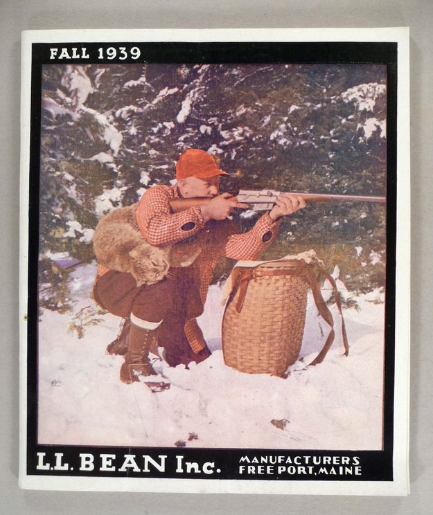 A hunter with a poor dead kitty? TERRIFYING. | These Vintage L.L. Bean Catalog Covers Are Either Terrifying Or Adorable