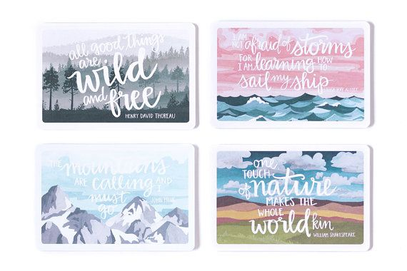 Wouldnt you like to get away? 1canoe2s hand-painted scenic illustrations postcards kit reminds us of vacations and wisdom from the past. Send a little note and quote to a friend today!  :: Printed locally in the Midwest, USA. :: Set of 8 cards in 4 designs (2 of each) :: 4x6 inches :: Flat cards printed front and back :: Printed on heavy cardstock  Mountain illustration: The mountains are calling and I must go. John Muir  Trees silhouette illustration: All good things are wild and free…