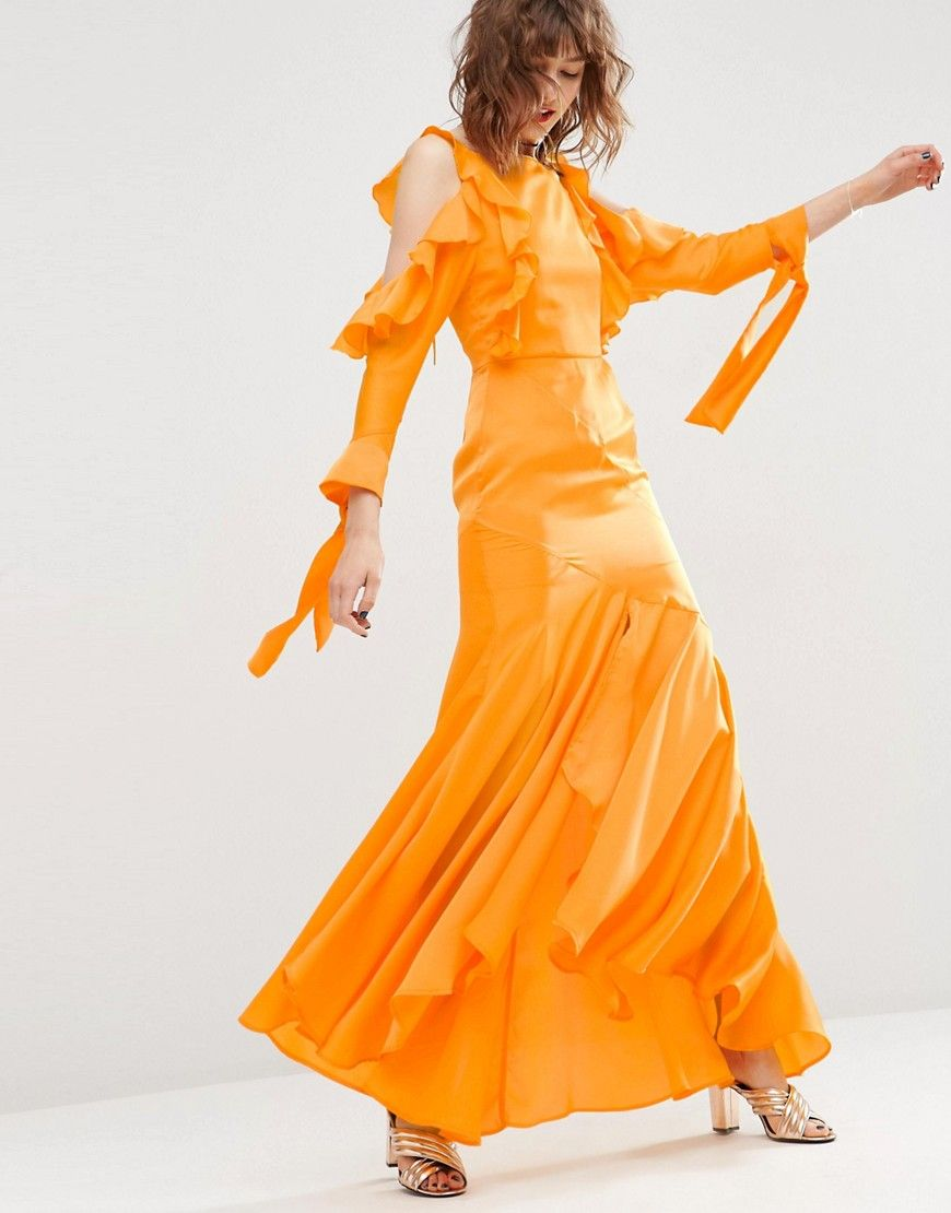 21e667a16eb Image 1 of ASOS Cold Shoulder Long Sleeve Ruffle Maxi Dress ...