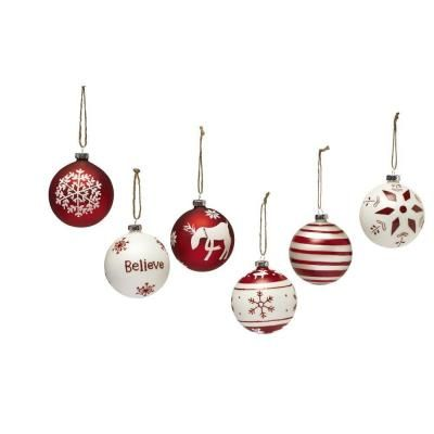Home Decorators Collection4 in Red and White Glass Nordic Ornaments