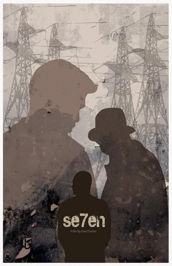 seven movie poster print se7en movie morgan freeman and