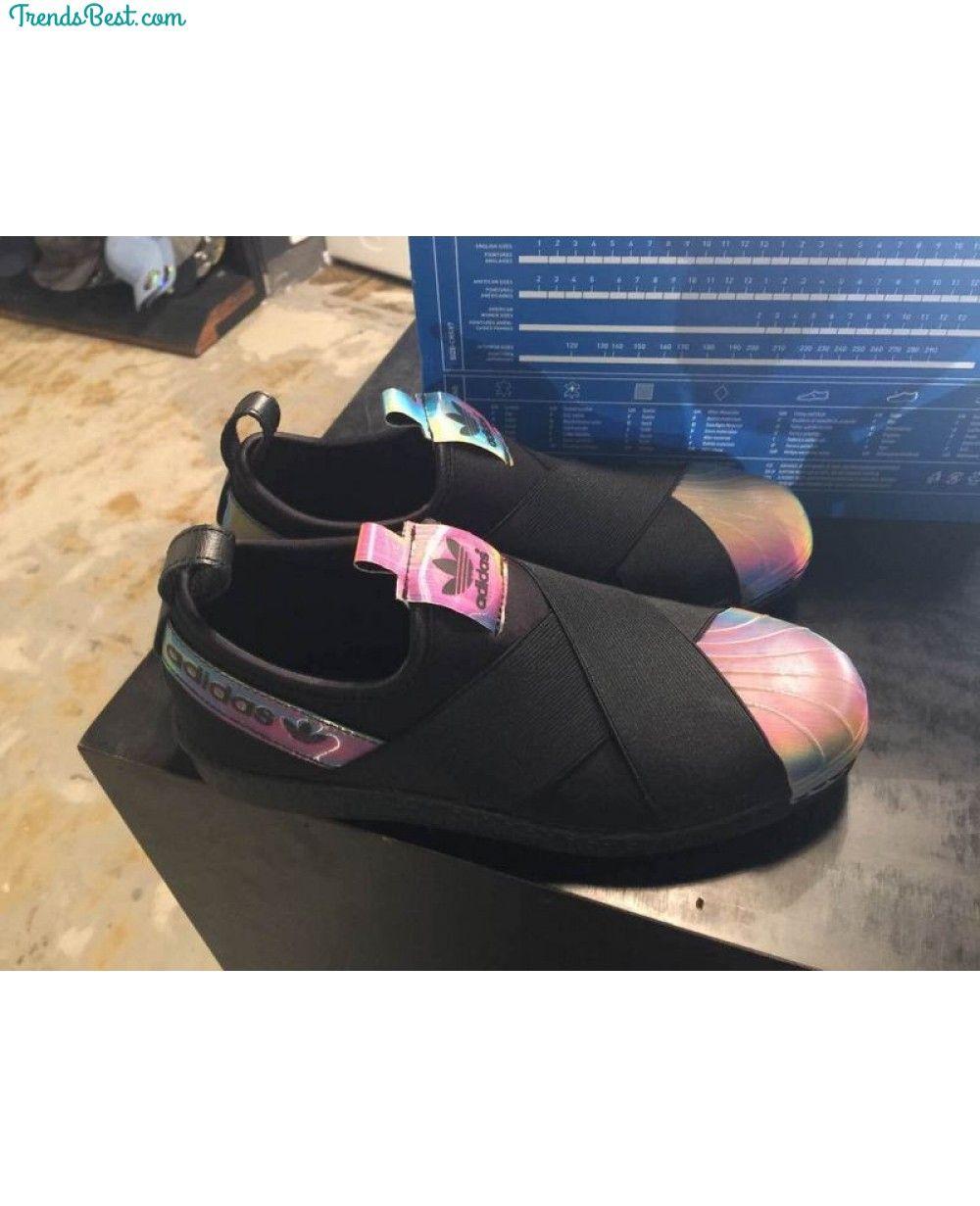 Adidas x Rita Ora Superstar Slip On W Black Hologram Iridescent ... fffdb8b8acc6