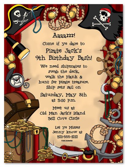 Best Create Own Pirate Birthday Invitations
