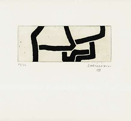 Eduardo Chillida (1924-2002), Continuation IV, 1970. Etching and aquatint. Plate size: 8.7cm H x 22.5cm W. Sheet size: 58.3cm H x 37.8cm W. Edition of about 64 copies.