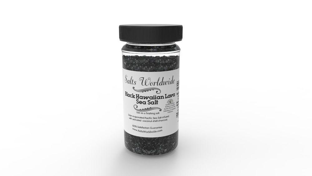 Black Salt - 4 Oz Glass Salt Shaker Kosher Grade Salt - Sea Salt - Hawaiian Salt #SaltsWorldwide