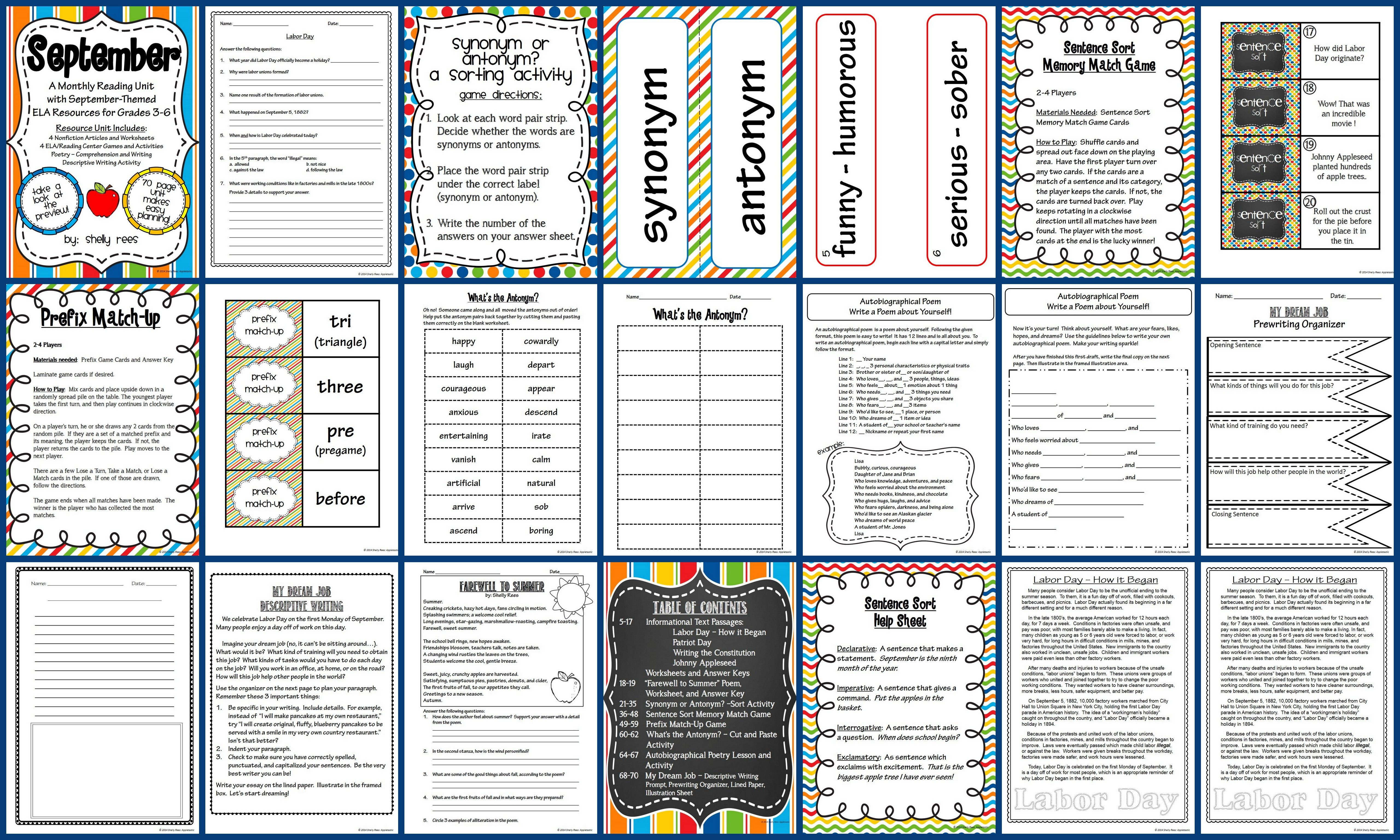 September Reading Ela Resource Packet For Grades 3 6 70 Page Resource Contain Active Reading Strategies Elementary Language Arts Activities Reading Classroom