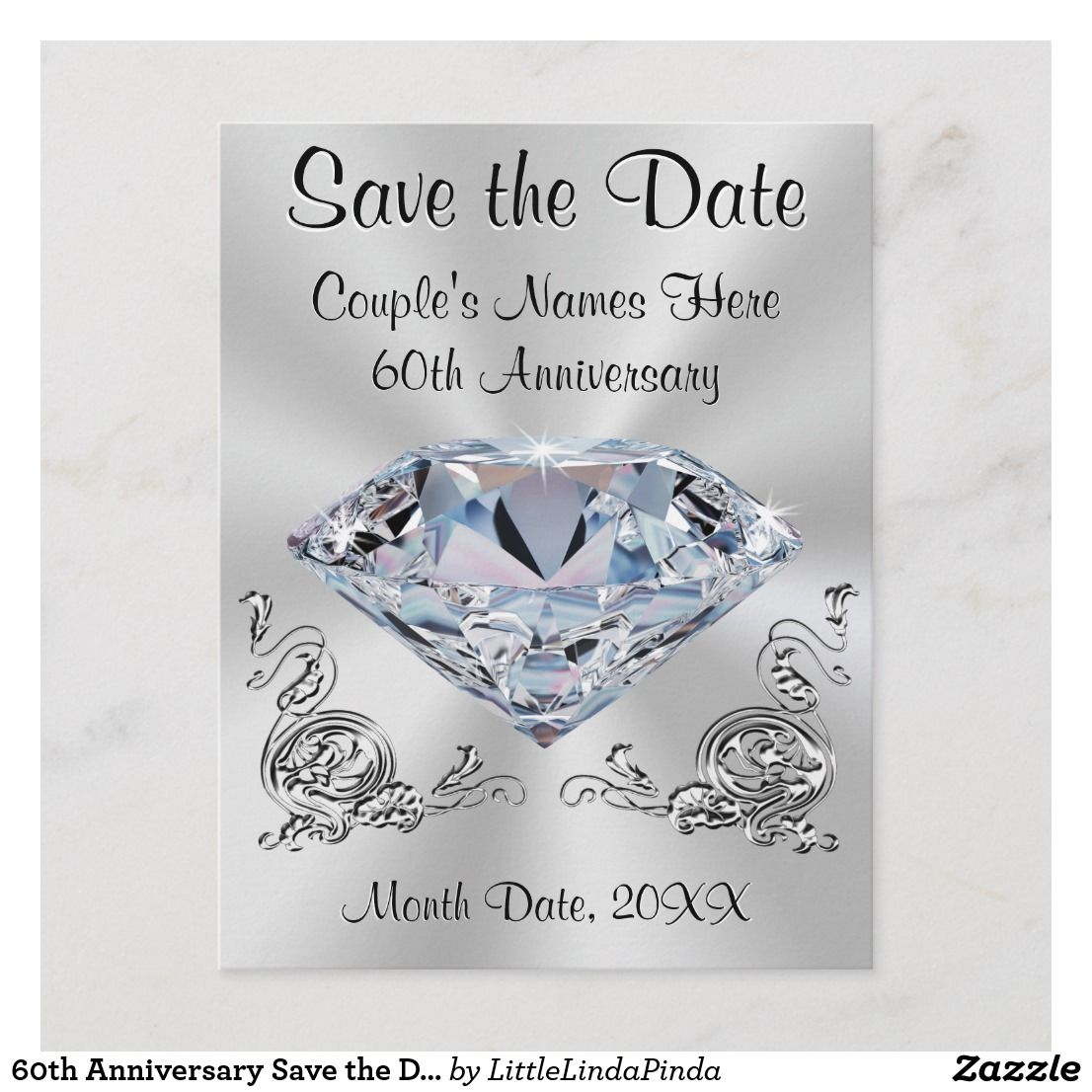 60th Anniversary Save the Date Cards PERSONALIZED Zazzle