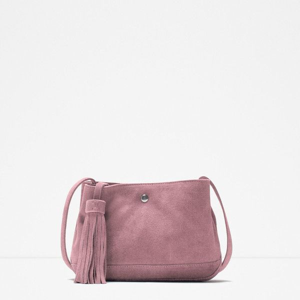 Zara Suede Messenger Bag (135 SAR) ❤ liked on Polyvore featuring bags, messenger bags, pink, zara bag, pink messenger bag, white messenger bag, suede messenger bag and suede bag