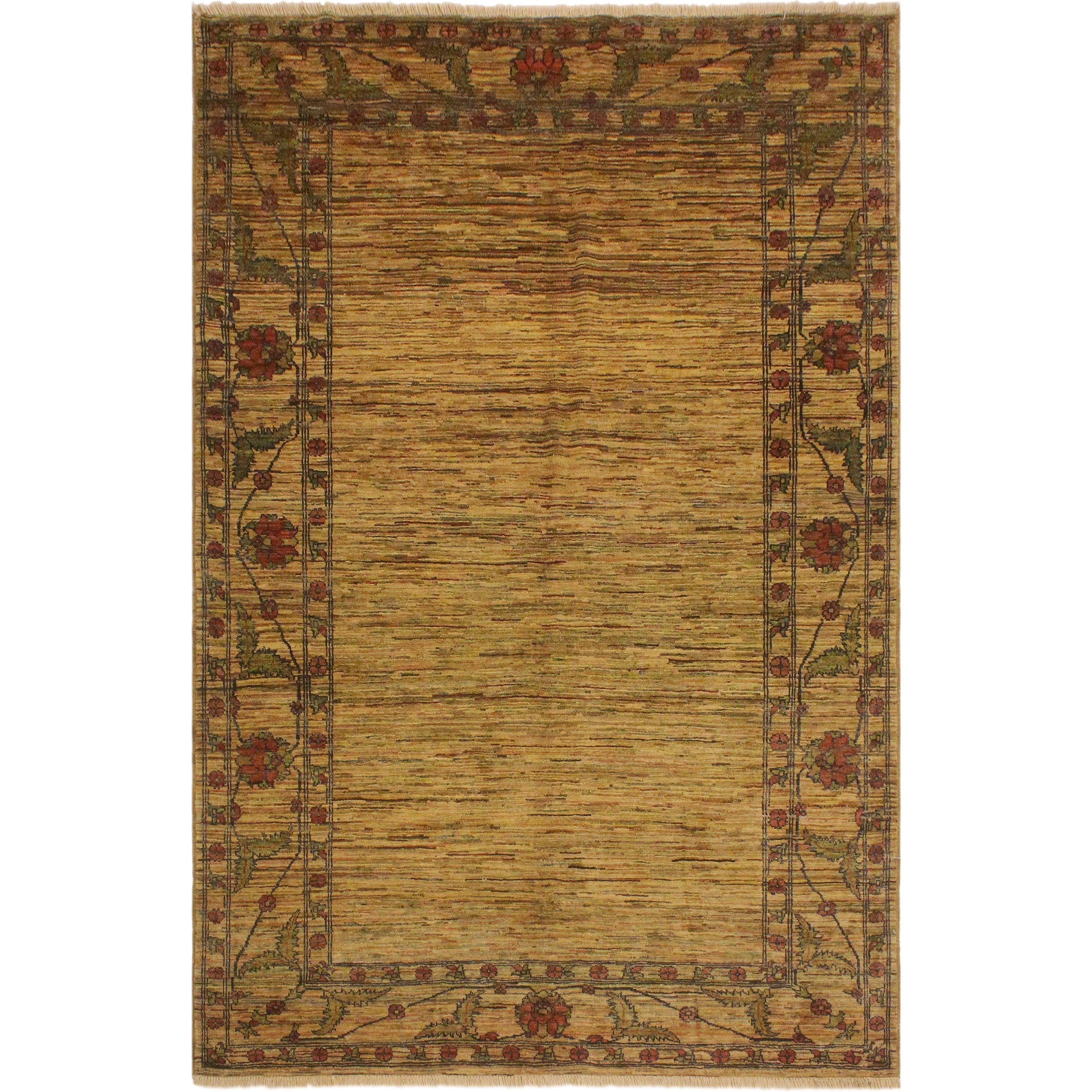 Gabbeh David Tan Red Wool Area Rug 5 1 X 7 3 5 Ft 1 In X 7