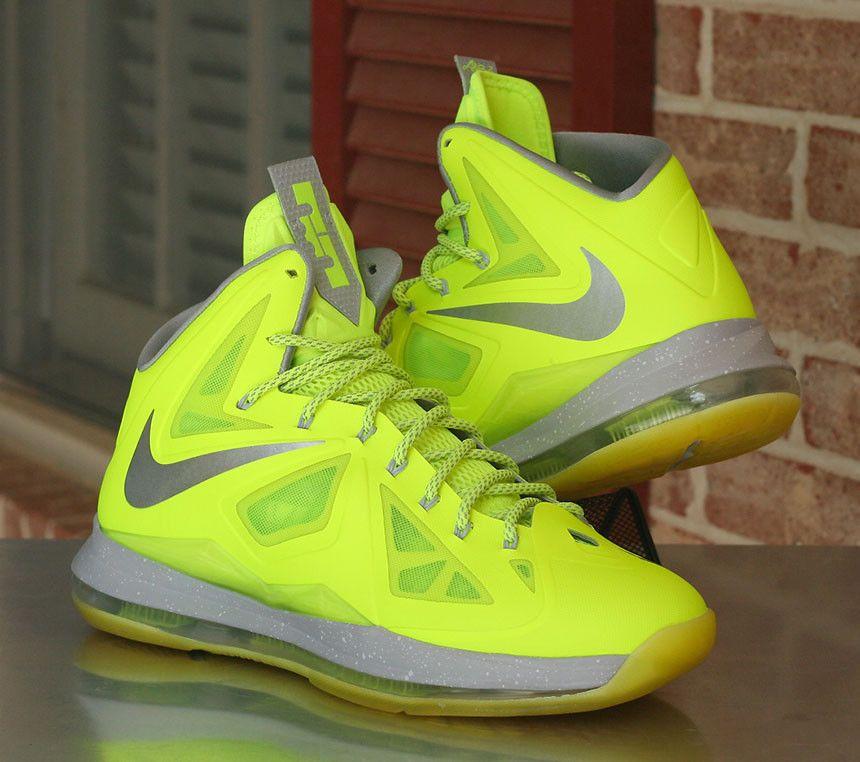 more photos c682c 685fd Nike LeBron X 10 Volt Wolf Grey Pure Platinum Dunkman 541100-700 Men s Size  11  Nike  BasketballShoes