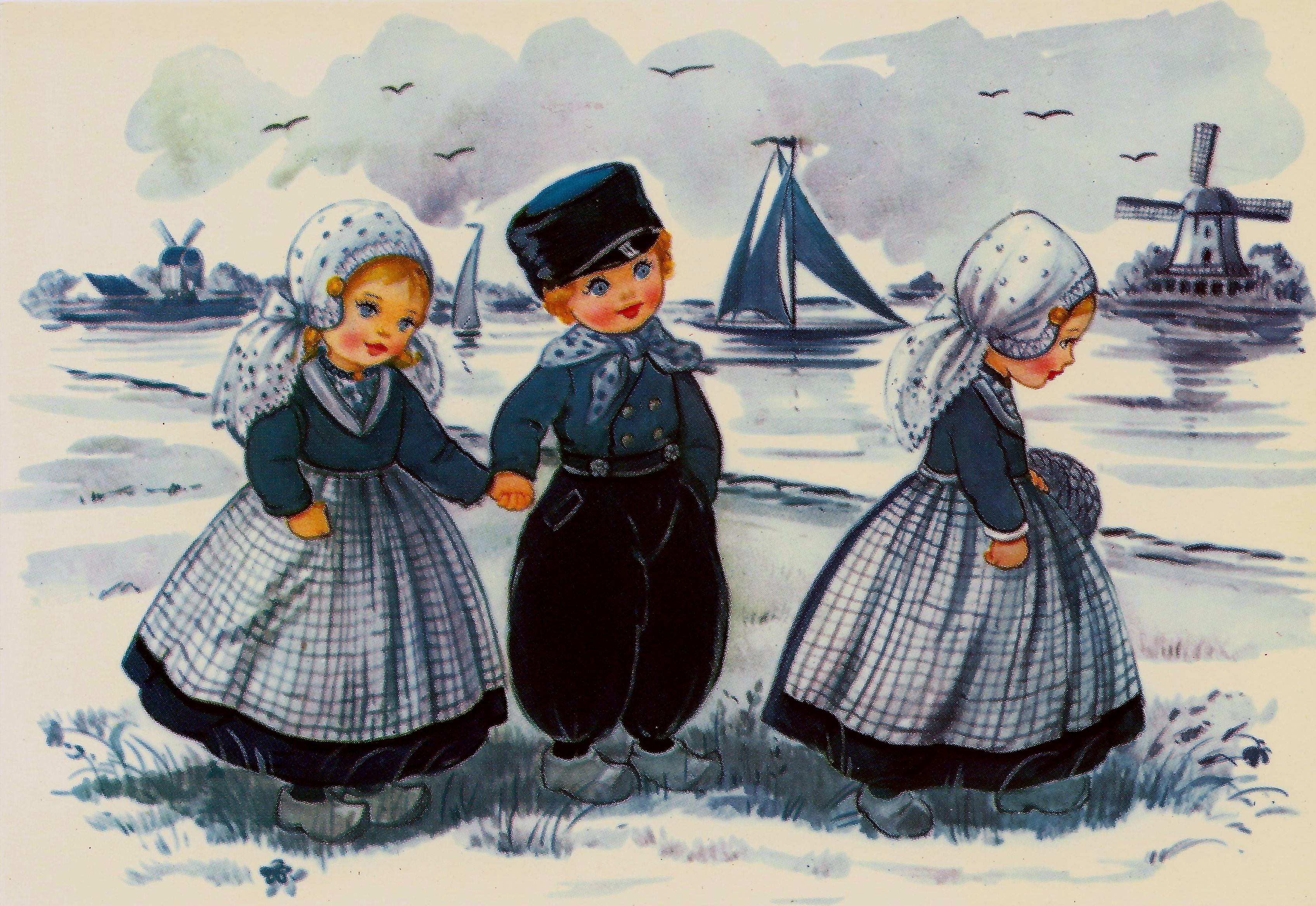 Винтажные голландские открытки, день рождения