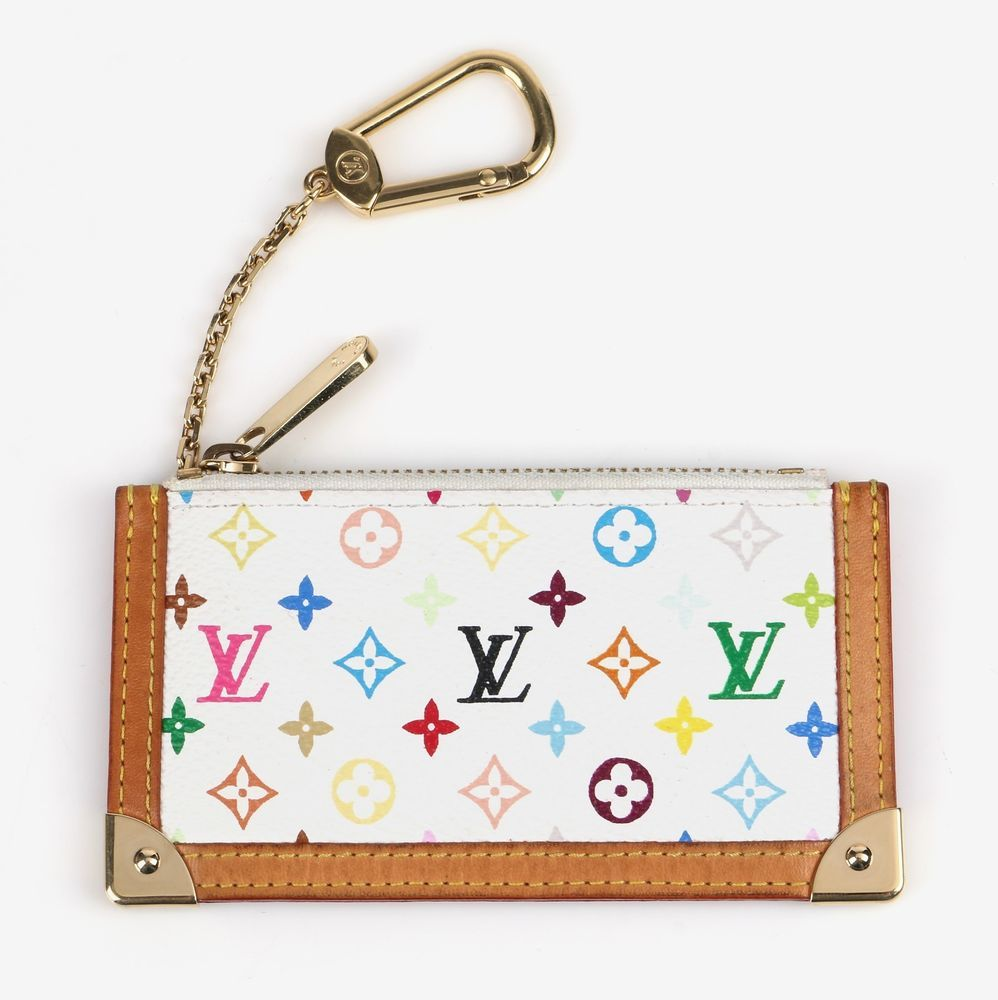 ced6194d7b LOUIS VUITTON MULTICOLOR KEY CLES BLANC TAKASHI MURAKAMI POUCH HOLDER CASE  RARE  LouisVuitton