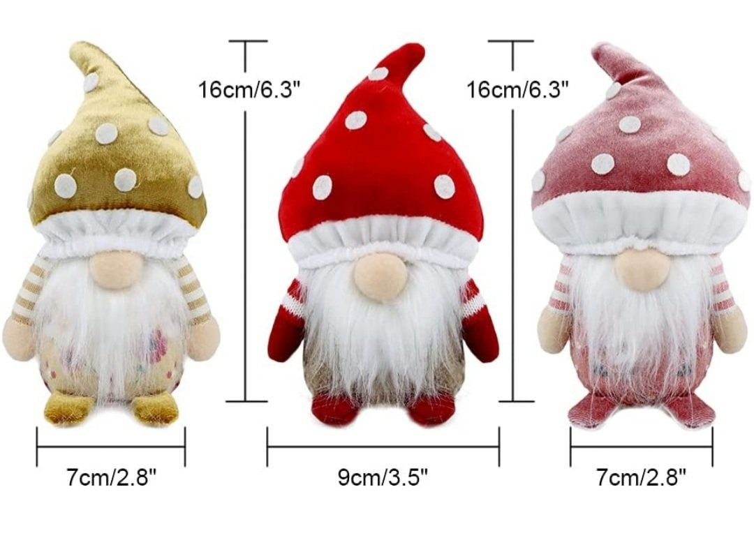 Photo of Mushroom Summer Gnome 3 Pcs Handmade Plush Farmhouse Decoration 2021 New Holiday Tomte Ornaments Gift for Home Kitchen Tiered Tray – 6 Inch