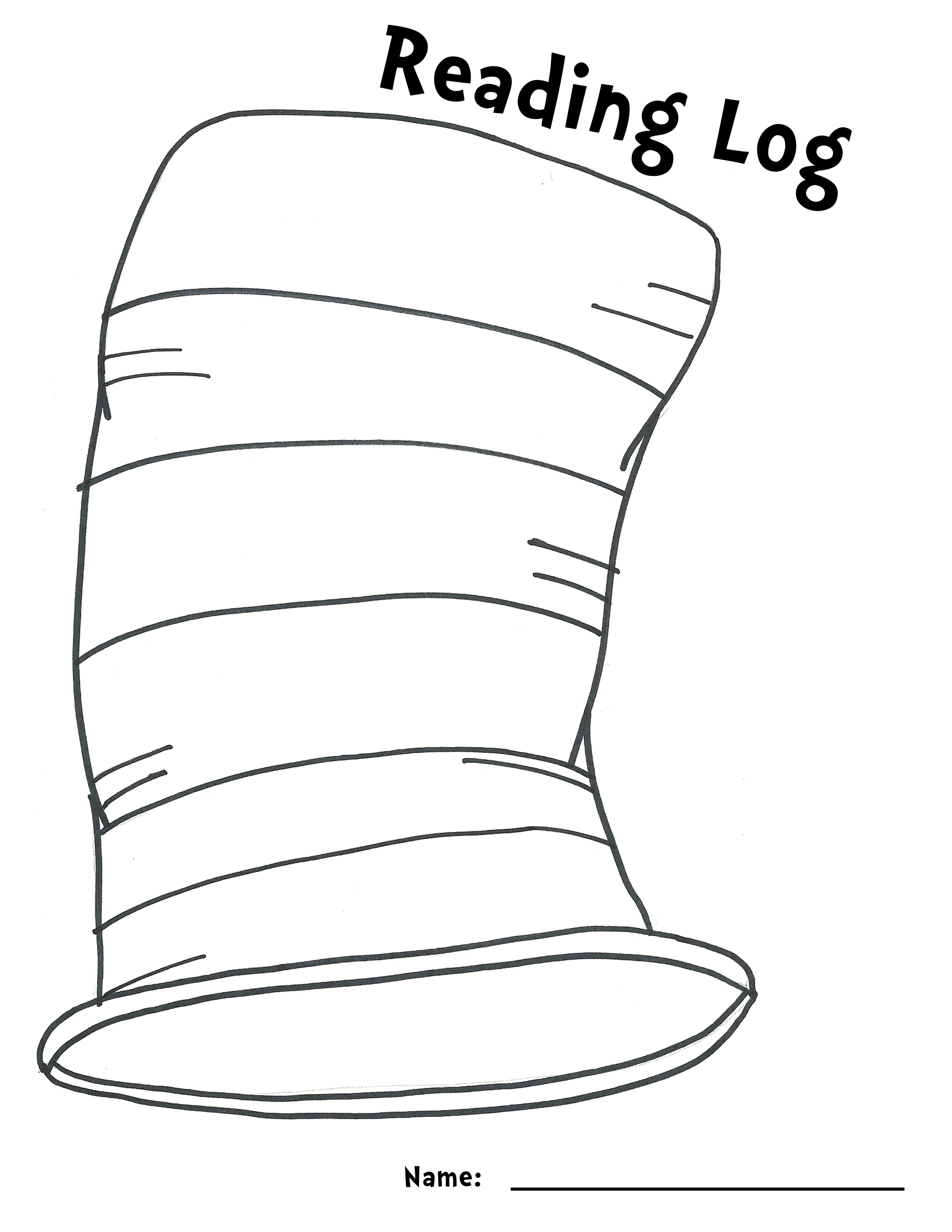 Cat Hat Outline Reading Log