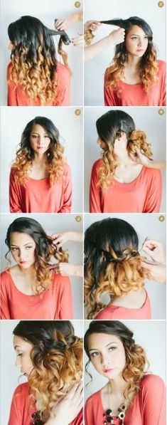 Cute curly hair up do