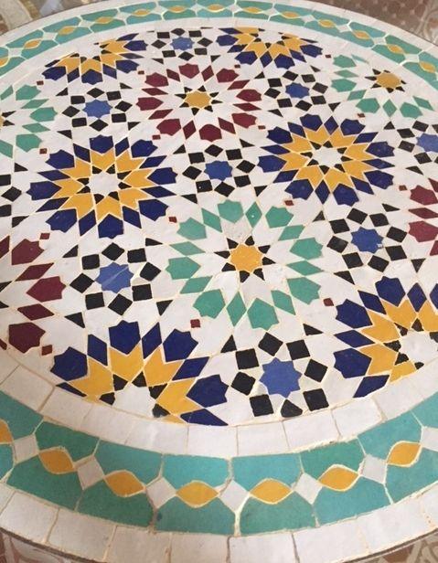 Moroccan Mosaic Tile Table   Mosaic tile table, Porch tile ...