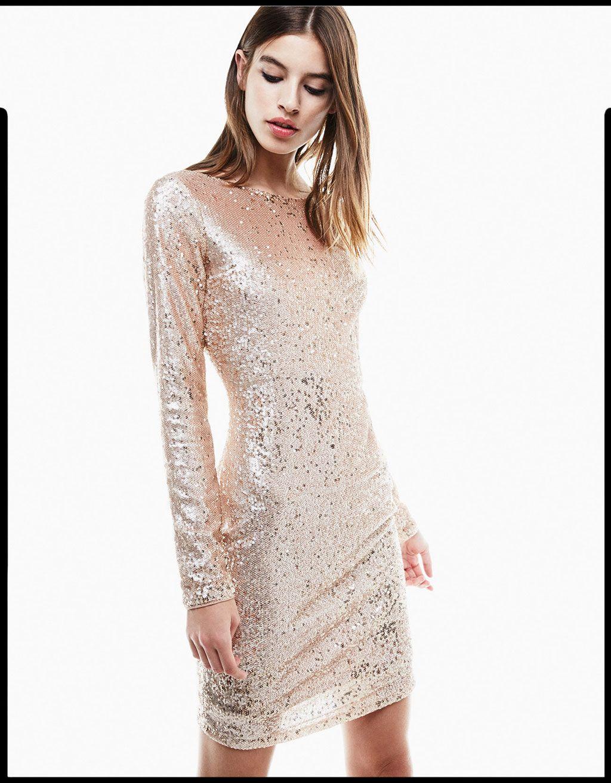 Vestido lentejuelas manga larga. Descubre ésta y muchas otras prendas en  Bershka con nuevos productos cada semana ac7590ae18cc