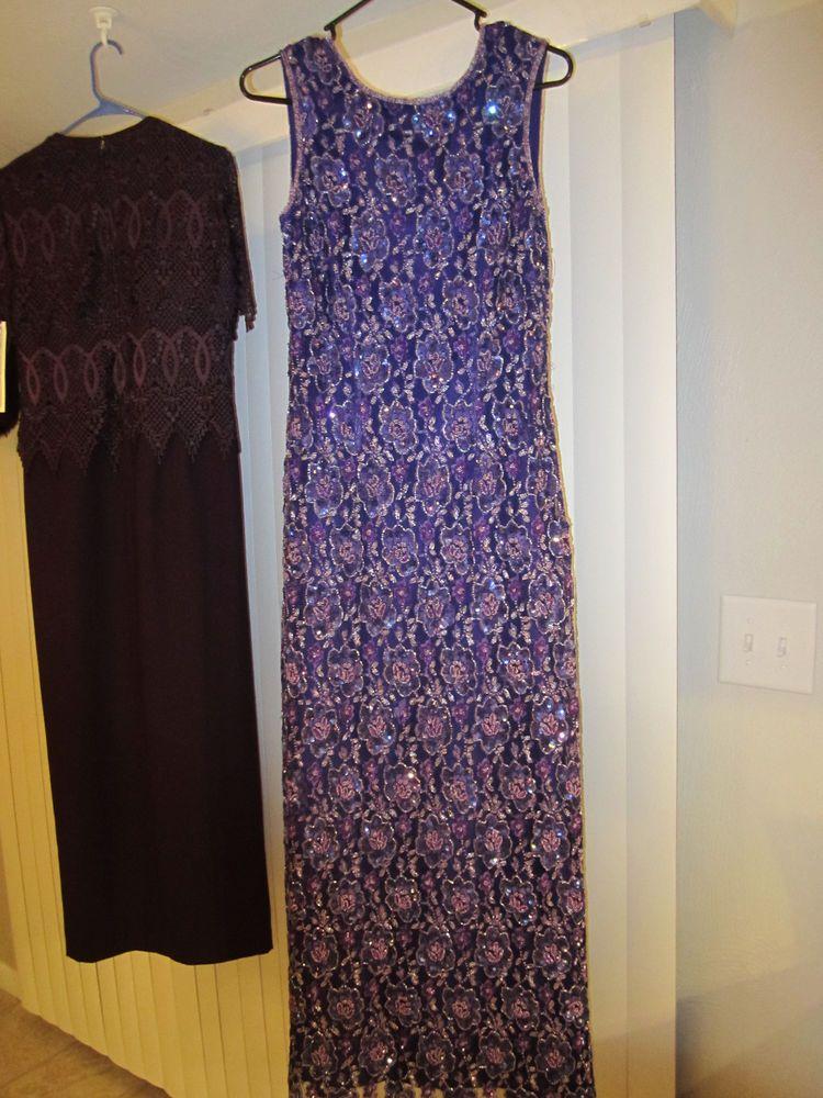 Monsoon Twilight purple beaded vtg classy cocktail dress sz 10 SEE ...