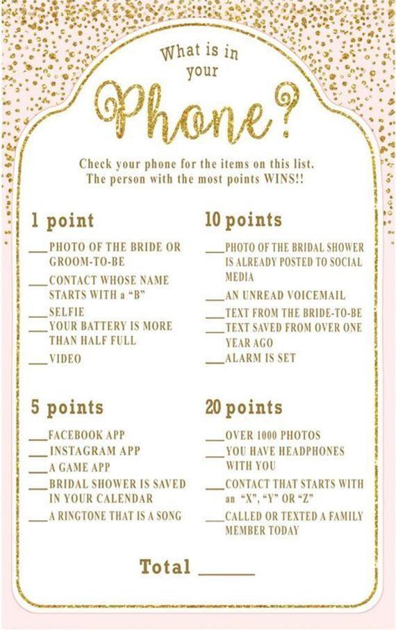 the 10 best bridal shower games what is in your phone bridal shower game