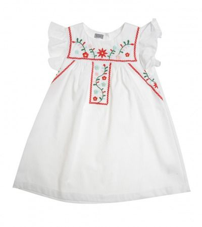White Heidi Mexican Embroidery Dress $29.95