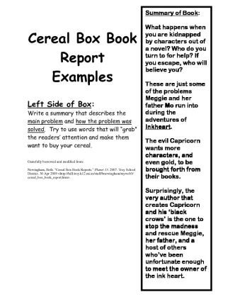 Cereal Box Book Report  CerealBoxBookReportExamplesMrs
