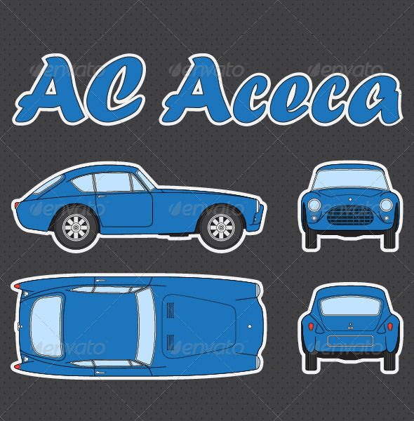 Ac aceca car blueprint blue bueprint car front rear ac aceca car blueprint vectors objects man made objects malvernweather Choice Image