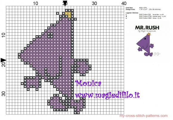 Mr  Rush (Mr  Men) cross stitch pattern - free cross stitch