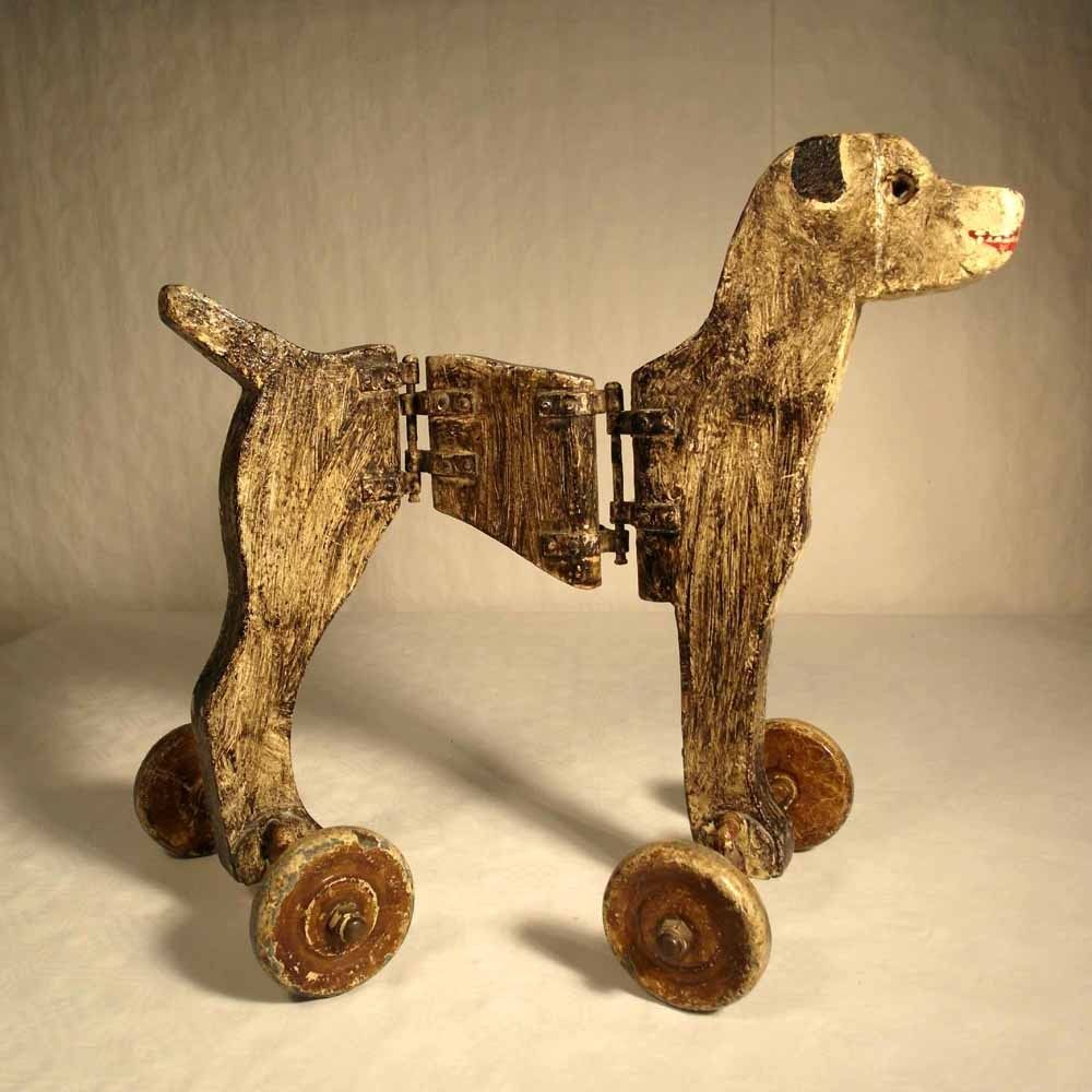 stunning handmade wooden toy dog on wheels - pre wwii