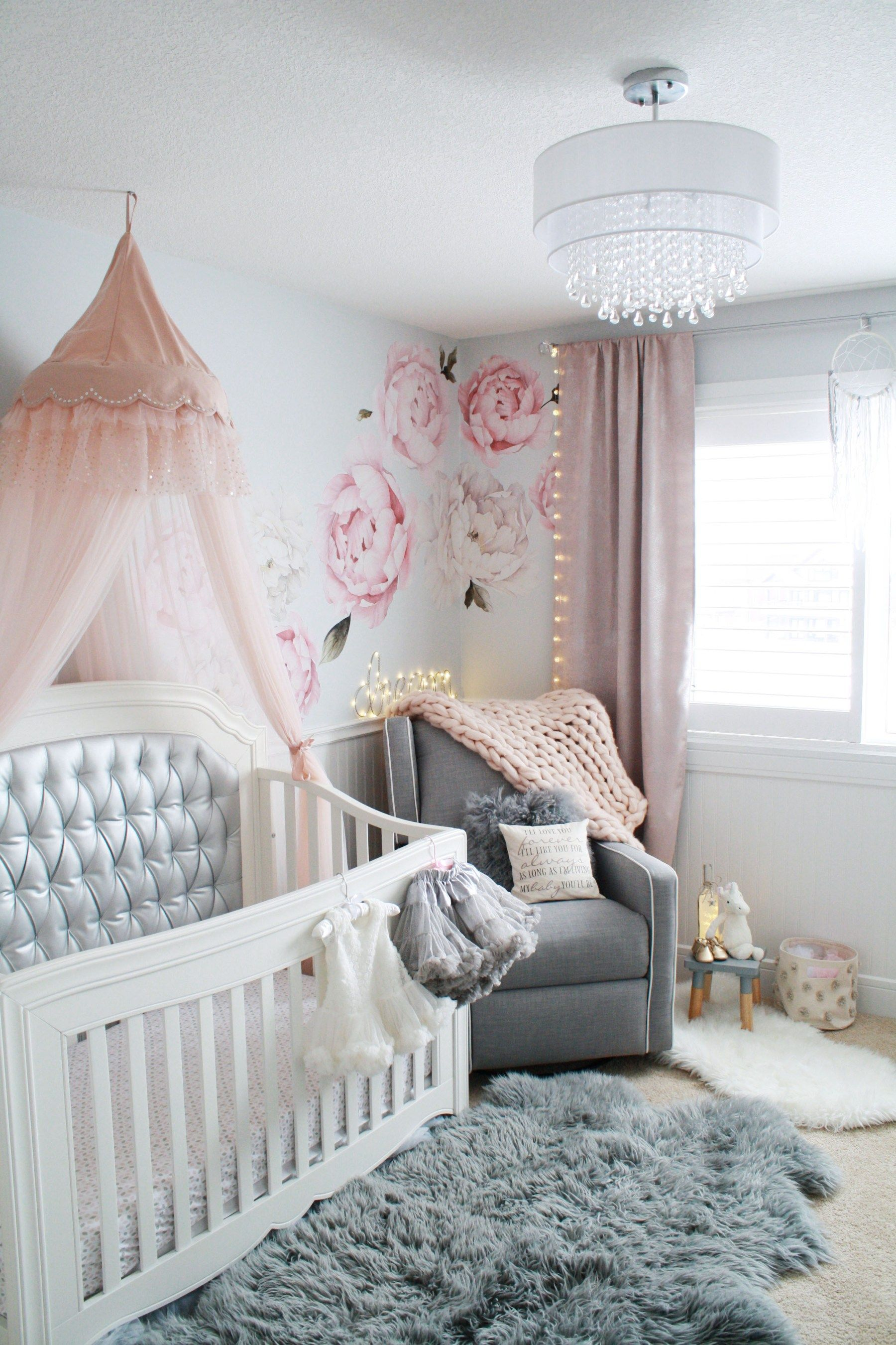 Baby Pink And Gray Nursery With Chandelier Tufted Crib Canopy Peony Wall Decals