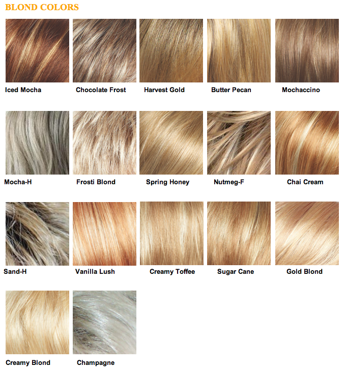 Different shades of blonde hair colors