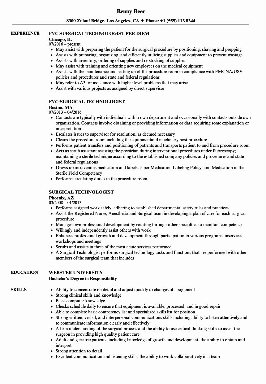 Surgical Technician Resume Example Beautiful Surgical