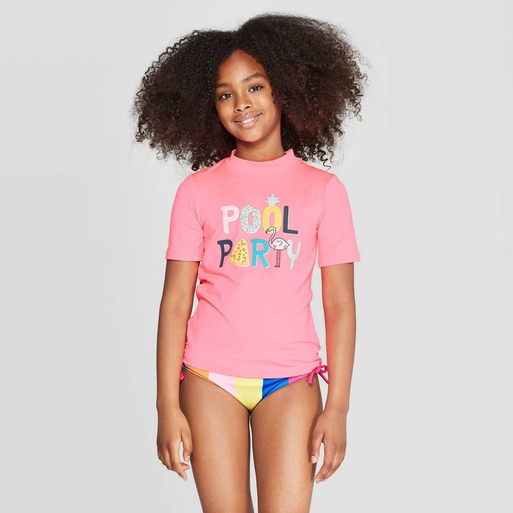 Girls Pool Party Rash Guard Cat Jack Pink L Plus Rash Guard