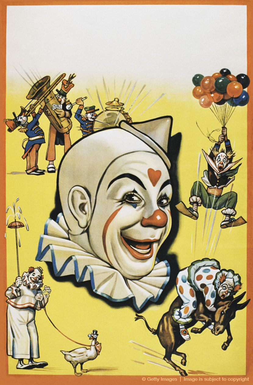 Image Detail For Vintage Poster Of Circus Clowns Performing