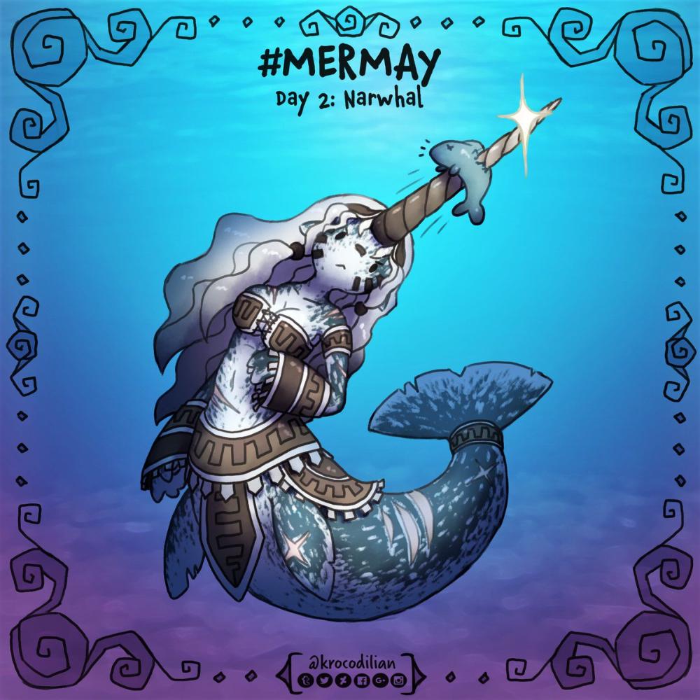 mermay mermaid narwhal creatures monster encyclopedia character cartoon
