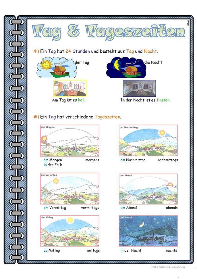 Tag & Tageszeiten _ Lernposter | Arbeitsblätter, Einteilung und ...
