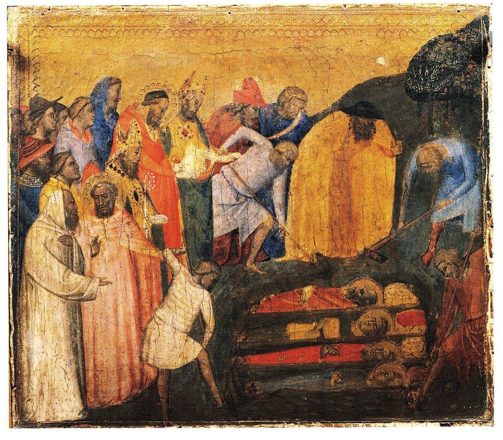 Bernardo Daddi - Storie di Santo Stefano: Ritrovamento delle reliquie di  Santo Stefano - c. 1345 - tempera e oro su tavola -  Musei Vaticani, Città del Vaticano