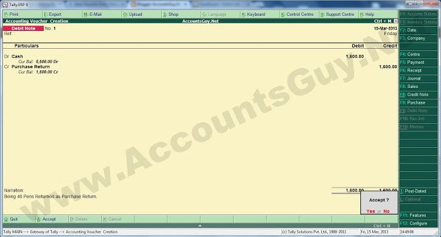 How to record Purchase Return in TallyERP 9? In TallyERP 9 we - debit note issued by supplier