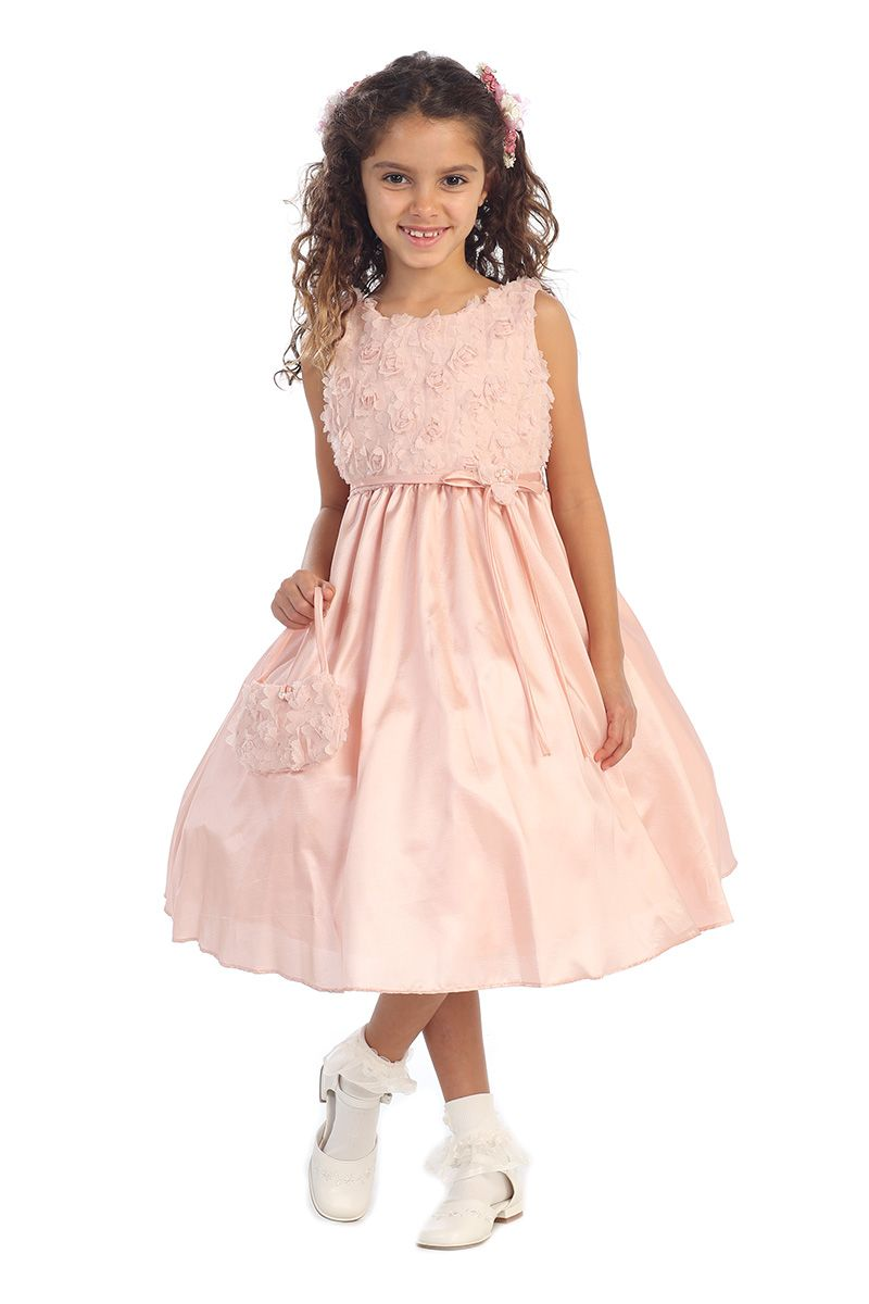 0c1efe23932 Click to enlarge   Dust Rose Rosebud Accented Taffeta Flower Girl Dress  with Matching Bag CD-731-DR