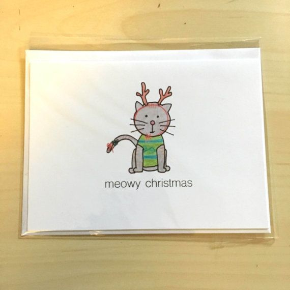 Funny holiday card cat meowy christmas illustrated christmas funny holiday card cat meowy christmas illustrated christmas greeting card m4hsunfo Choice Image