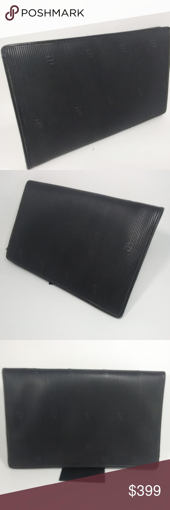 18d41d3f3e97 FENDI ROMA Vintage Black Portfolio Striped Clutch FENDI ROMA Italy 1925  S.A.S Portfolio Case 10