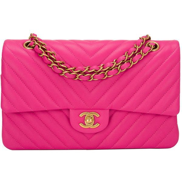 Pre-owned Chanel Fuchsia Chevron Large Classic Double Flap Bag (€5.615) ❤ liked on Polyvore featuring bags, handbags, shoulder bags, chanel, handbags and purses, structured shoulder bags, accessories handbags, pink shoulder bag, purse and shoulder strap bag