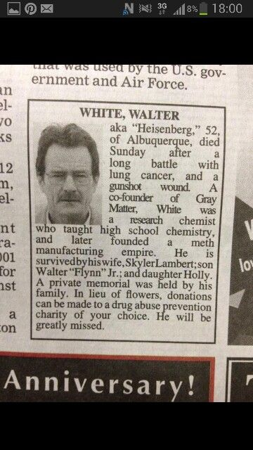 Walter White Obituary. breakingbad heisenburg Breaking