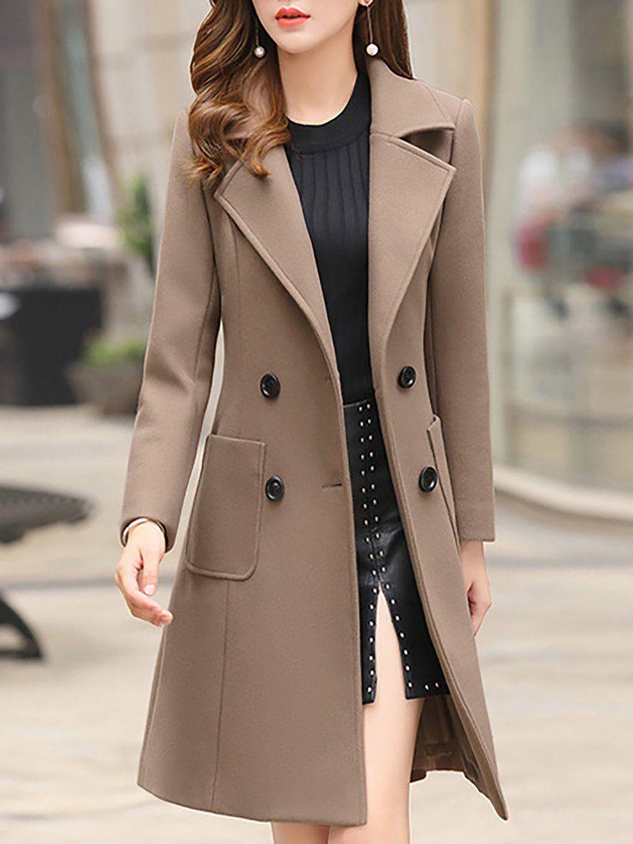 Casual Solid Pockets Buttoned Lapel Solid Coat Coat Outfits Fall Fashion Coats Coat Dress [ 1200 x 900 Pixel ]