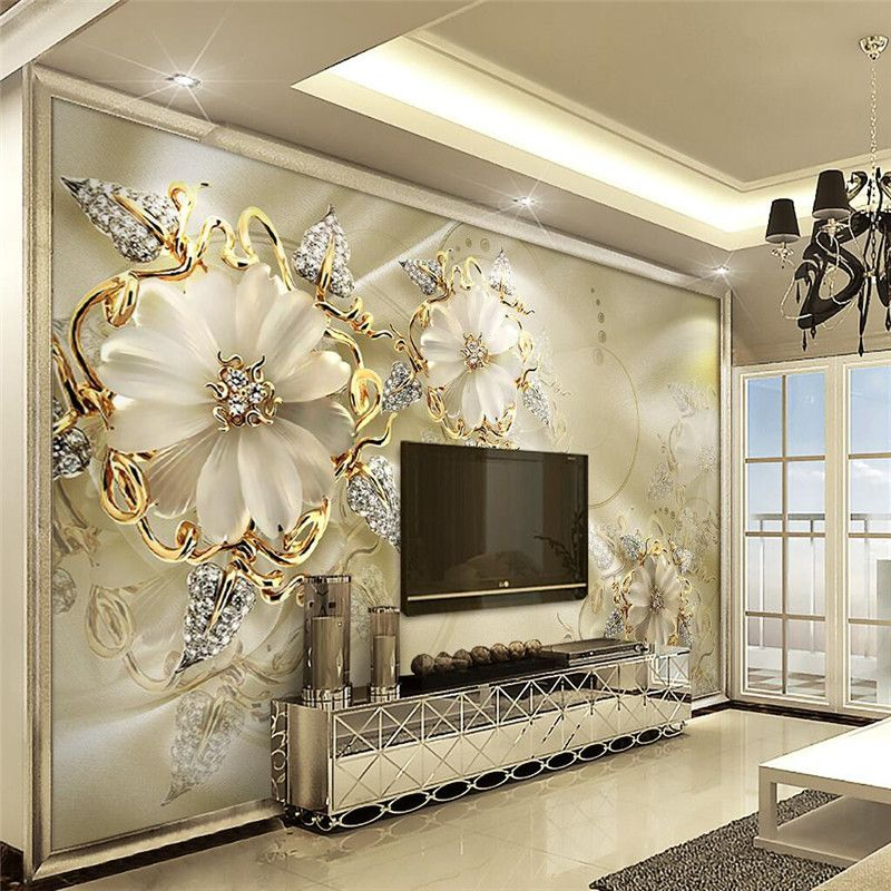 Custom Wallpaper For Living Room Diamond Jewelry Large Scale Painting Flowers Bedroom Sofa Background Wall Mural Paper