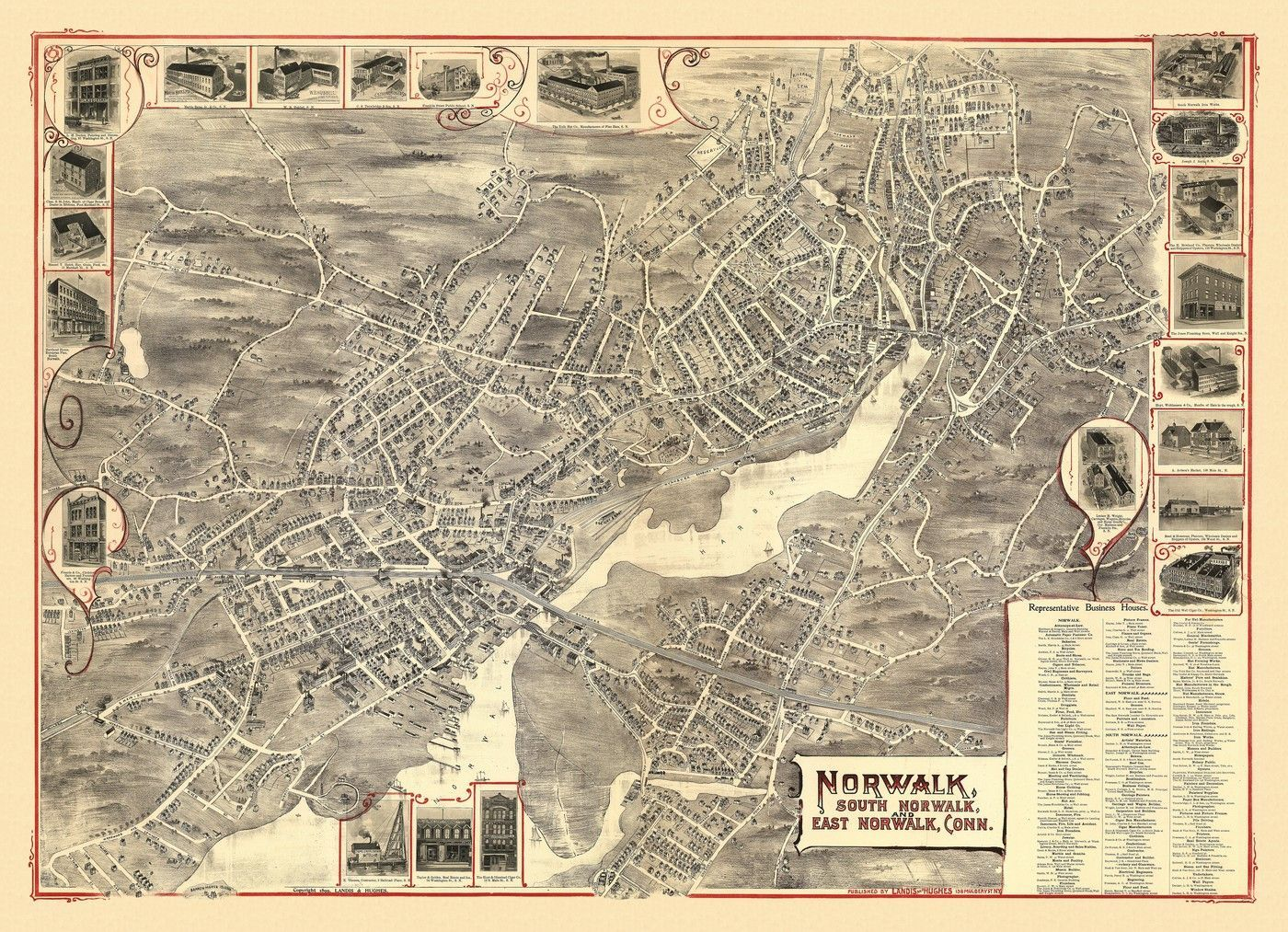 Antique Map of Norwalk Connecticut Poster 1899