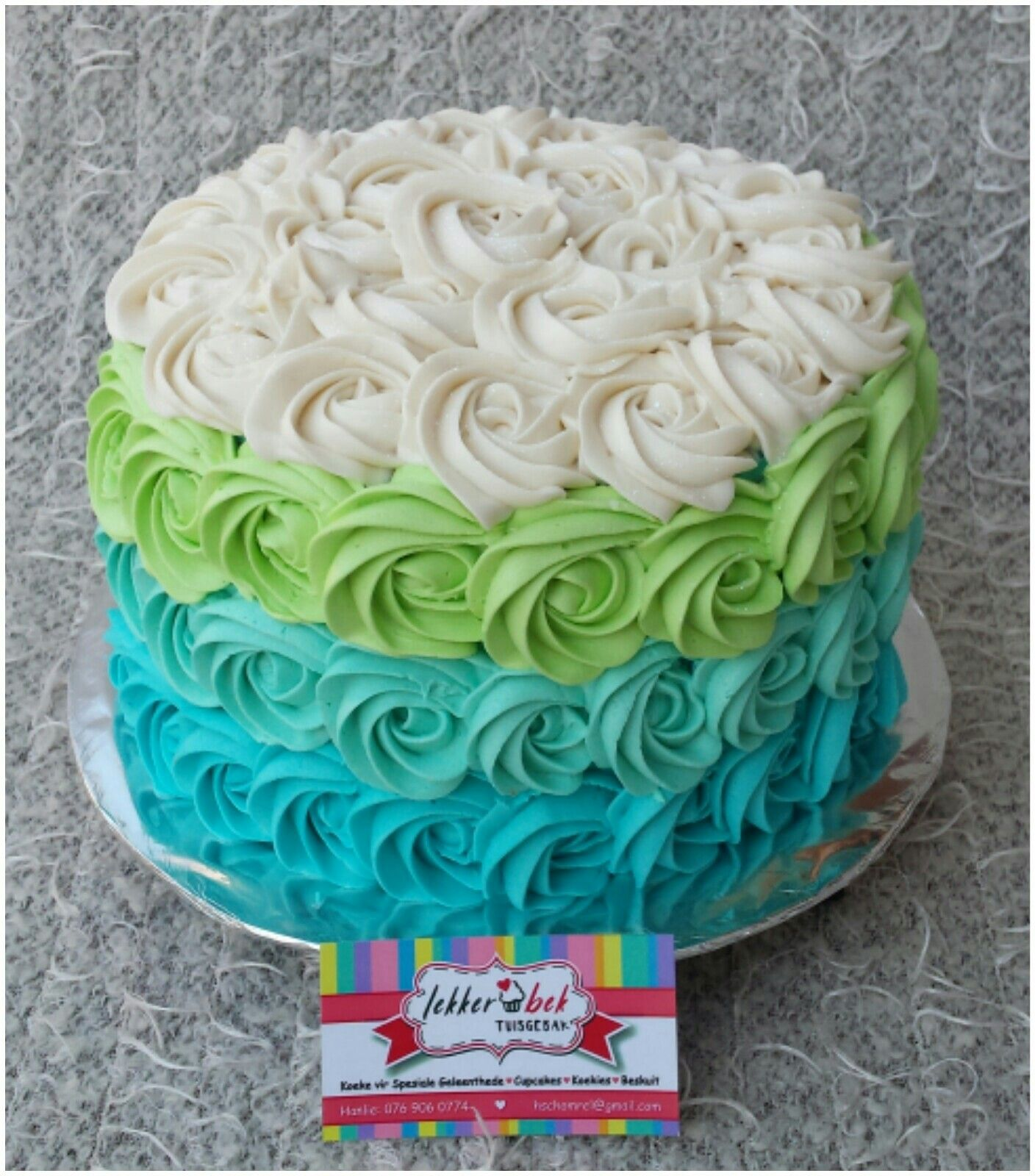 Rosette Icing Blue Turquoise Green And White Cake With Images