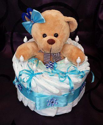 windeltorte blau junge geschenk zur geburt taufe babyparty pampers gr 3 b r geschenke f r